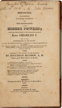 John Adams Signed Copy of A Discourse, Concerning Unlimited Submission and Non-Resistance to the Higher Powers
