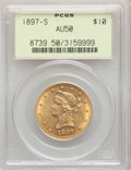 1897-S $10 AU50 PCGS. PCGS Population: (20/258). NGC Census: (10/329). CDN: $784.93.Whsle. Bid for NGC/PCGS AU50. Mintag...