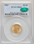 Liberty Quarter Eagles: , 1903 $2 1/2 MS63 PCGS. CAC. PCGS Population: (1715/2611). NGC Census: (1458/2437). CDN: $356 Whsle. Bid for NGC/PCGS MS63. ...