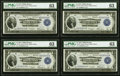 Fr. 710 $1 1918 Federal Reserve Bank Note PMG Graded Cut Sheet of Four