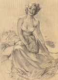 Works on Paper, Gil Elvgren (American, 1914-1980). In the Garden. Charcoal on tracing paper. 23 x 17 inches (58.4 x 43.2 cm) (sight). Si...