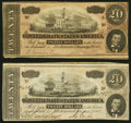 Confederate Notes:1864 Issues, T67 $20 1864 Two Examples Fine-Very Fine or Better.. ... (Total: 2 notes)