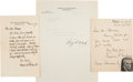 Autographs:Statesmen, Group of Supreme Court Justice Letters....