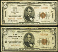 National Bank Notes:Ohio, Sidney, OH - $5 1929 Ty. 1 The First National Exchange Bank Ch. # 5214 Fine;. Toledo, OH - $5 1929 Ty. 2 Natio... (Total: 2 notes)