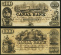 Obsoletes By State:Louisiana, New Orleans, LA- New Orleans Canal and Banking Company $500; $1000 18__ Remainders Crisp Uncirculated.. ... (Total: 2 notes)