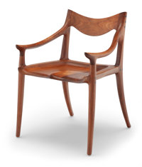 Sam Maloof (American, 1916-2009) Armchair, 2002 California walnut, ebony 30 x 21-1/2 x 25 inches