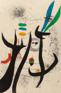Prints & Multiples, Joan Miró (1893-1983). La femme arborescente, 1974. Etching and aquatint in colors on Arches paper. 43-3/8 x 28-5/8 inch...