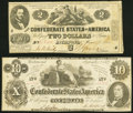 Confederate Notes:1862 Issues, T42 $2 1862 Fine-Very Fine;. T46 $10 1862 Very Fine.. ... (Total: 2 notes)