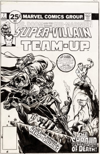 Jim Starlin and Alan Weiss Super-Villain Team-Up #7 Unused Cover Namor, Doctor Doom, and the Shroud Original Art (