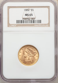 1882 $5 MS65 NGC. NGC Census: (35/2). PCGS Population: (12/1). CDN: $2,400 Whsle. Bid for NGC/PCGS MS65. Mintage 2,514,5...