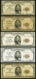 Fr. 1850-A; C; I; J; K $5 1929 Federal Reserve Bank Notes. Very Good or Better