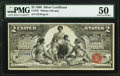 Large Size:Silver Certificates, Fr. 247 $2 1896 Silver Certificate PMG About Uncirculated 50.. ...