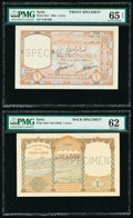 Syria Banque de Syrie et du Grand-Liban 1 Livre 1925 Picks 24s1; 24s2 Front and Back Uniface Specimen PMG Gem Uncirculat...