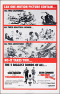 """Movie Posters:James Bond, Thunderball/You Only Live Twice Combo (United Artists, R-1970). Folded, Very Fine. One Sheet (27"""" X 41""""). James Bond.. ..."""