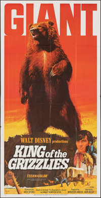 "King of the Grizzlies (Buena Vista, 1970). Folded, Very Fine-. Three Sheet (39"" X 77""). Paul Wenzel Artwork. W..."