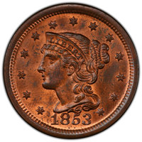 1853 1C MS64 Red and Brown PCGS. CAC. PCGS Population: (239/129 and 3/4+). NGC Census: (146/125 and 1/2+). CDN: $435 Whs...