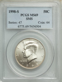 1998-S 50C SMS MS69 PCGS. PCGS Population: (2350/402). NGC Census: (1750/697). CDN: $140 Whsle. Bid for NGC/PCGS MS69...