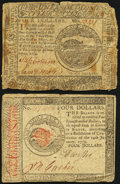 Continental Currency November 29, 1775 $4 Fine; Continental Currency January 14, 1779 $4 Fine-Very Fine