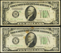 Small Size:Federal Reserve Notes, Fr. 2009-B*; E* $10 1934D Federal Reserve Star Notes. Fine-Very Fine or Better.. ... (Total: 2 notes)