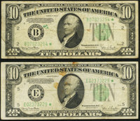 Fr. 2009-B*; E* $10 1934D Federal Reserve Star Notes. Fine-Very Fine or Better