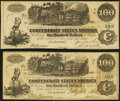 Confederate Notes:1862 Issues, T39 $100 1862 Two Examples Very Fine-Extremely Fine or Better.. ... (Total: 2 notes)