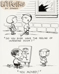 Original Comic Art:Comic Strip Art, Charles Schulz Li'l Folks Comic Strip Single Panel Gag Strip Illustration Original Art (St. Paul Pioneer Press, c....