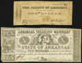 Obsoletes By State:Arkansas, Little Rock, AR- Arkansas Treasury Warrant $10 Apr. 11, 1862 Very Fine-Extremely Fine;. (Amherst, VA)- County of Amher... (Total: 2 notes)