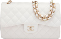 "Chanel White Caviar Leather Jumbo Double Flap Bag with Gold Hardware Condition: 1 10"" Width x 7.5"