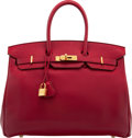 Luxury Accessories:Bags, Hermès 35cm Rouge H Swift Leather Birkin Bag with Gold Ha...