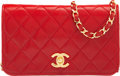 """Luxury Accessories:Bags, Chanel Red Quilted Lambskin Leather Wallet on Chain with Gold Hardware. Condition: 4. 7.5""""Length x 4.5""""Height x 1"""" Dep..."""