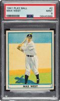 Baseball Cards:Singles (1940-1949), 1941 Play Ball Max West #2 PSA Mint 9 - Pop One, None Higher! ...