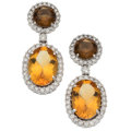 Estate Jewelry:Earrings, Citrine, Diamond, White Gold Earrings . ...