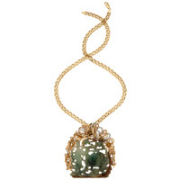Jadeite Jade, Diamond, Gold Pendant-Necklace