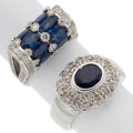 Estate Jewelry:Rings, Sapphire, Diamond, White Gold Rings . ... (Total: 2 Items)