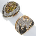 Estate Jewelry:Rings, Colored Diamond, Diamond, Yellow Sapphire, Gold Rings. ... (Total: 2 Items)