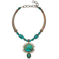 Estate Jewelry:Necklaces, Turquoise, Synthetic Quartz, Sterling Silver Necklace . ...