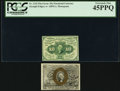 Fractional Currency:First Issue, Fr. 1242 10¢ First Issue PCGS Extremely Fine 45PPQ. Fr. 1283 25¢ Second Issue Extremely Fine.. ... (Total: 2 notes)
