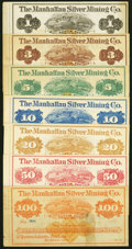 Obsoletes By State:Nevada, Austin, NV- Manhattan Silver Mining Co. $1; $3; $5; $10; $20; $50; $100 187_ Remainders Extremely Fine or Better.. ... (Total: 7 notes)