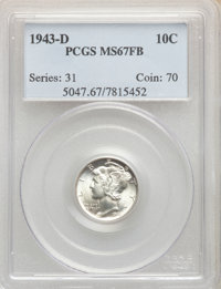 1943-D 10C MS67 Full Bands PCGS. PCGS Population: (853/48). NGC Census: (711/30). CDN: $120 Whsle. Bid for NGC/PCGS MS67...