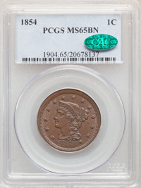 1854 1C MS65 Brown PCGS. CAC. PCGS Population: (53/14). NGC Census: (85/22). CDN: $725 Whsle. Bid for NGC/PCGS MS65. Min...
