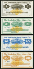Obsoletes By State:Nevada, Austin, NV- Manhattan Silver Mining Co. $1; $5; $10; $20 187_ Remainders Crisp Uncirculated or Better.. ... (Total: 4 notes)
