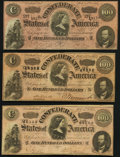 Confederate Notes:1864 Issues, T65 $100 1864 Three Examples Fine-Very Fine or Better.. ... (Total: 3 notes)