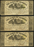 Milledgeville, GA- State of Georgia $20 Apr. 6, 1864, Three Examples Fine-Very Fine or Better