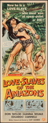 "Love Slaves of the Amazons (Universal International, 1957). Folded, Very Fine-. Insert (14"" X 36""). Reynold Br..."