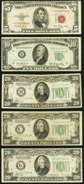 Small Size:Legal Tender Notes, Fr. 1532* $5 1953 Legal Tender Star Note. Very Good;. Fr. 2011-B* $10 1950A Federal Reserve Star Note. Very Fine;. Fr.... (Total: 5 notes)