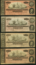 Confederate Notes:1864 Issues, T67 $20 1864 Four Examples Very Fine or Better.. ... (Total: 4 notes)