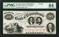 Obsoletes By State:Pennsylvania, Philadelphia, PA- Bank of Pennsylvania $20 18__ as G184 Proof PMG Choice Uncirculated 64.. ...