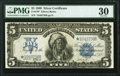 Large Size:Silver Certificates, Fr. 279* $5 1899 Star Silver Certificate PMG Very Fine 30.. ...