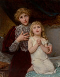 Paintings, Emile Munier (French, 1810-1895). Evening prayer, circa 1895. Oil on canvas. 36-1/2 x 28-1/2 inches (92.7 x 72.4 cm). Si...