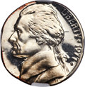 1977-S 5C Jefferson Nickel -- Struck On 10C Planchet, Clashed Dies -- PR66 Cameo NGC. (2.3 grams). From the Don Bo